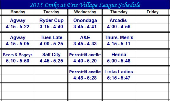 2015 League Schedule